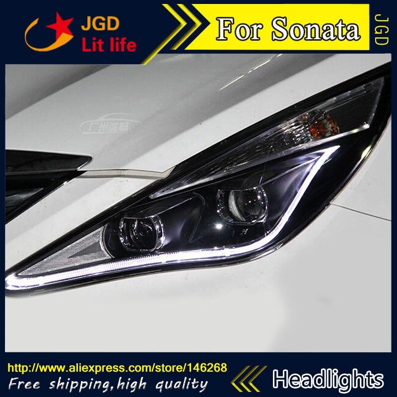 Free shipping ! Car styling LED HID Rio LED headlights Head Lamp case for Hyundai Sonata 2010-2013 Bi-Xenon Lens low beam