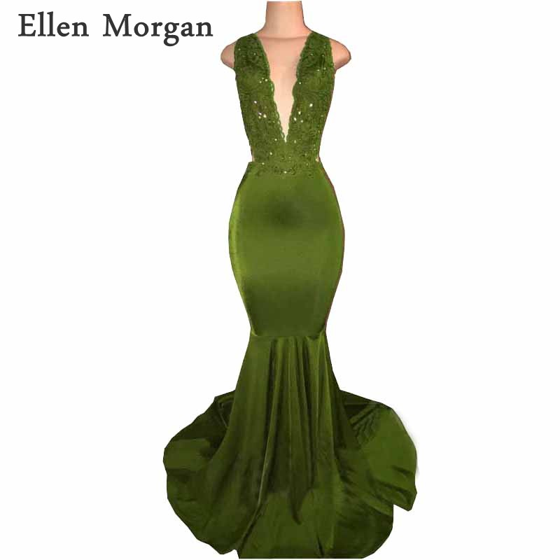 Backless Mermaid   Prom     Dresses   2019 for African Black Girls Lace Beaded Deep V neck Sexy Vestido De Festa for Party Gowns
