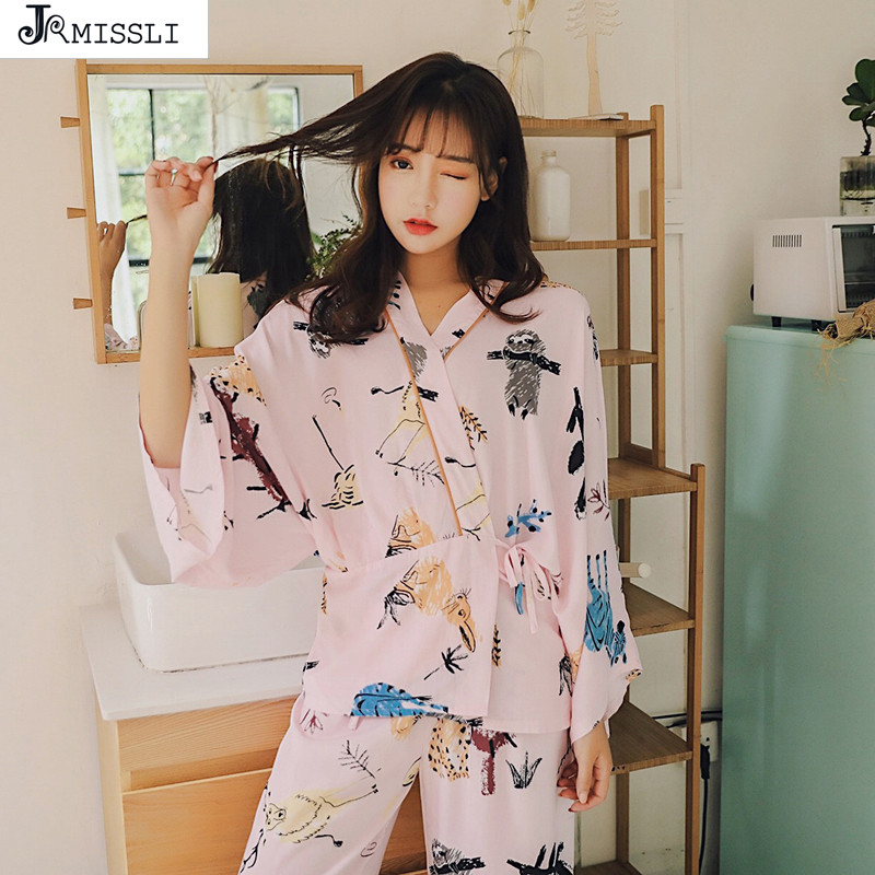 JRMISSLI Pajamas Sets Cotton Simple Kimono Nightgown Sleepwear Bathrobe Leisure Wear Homewear Home Clothing
