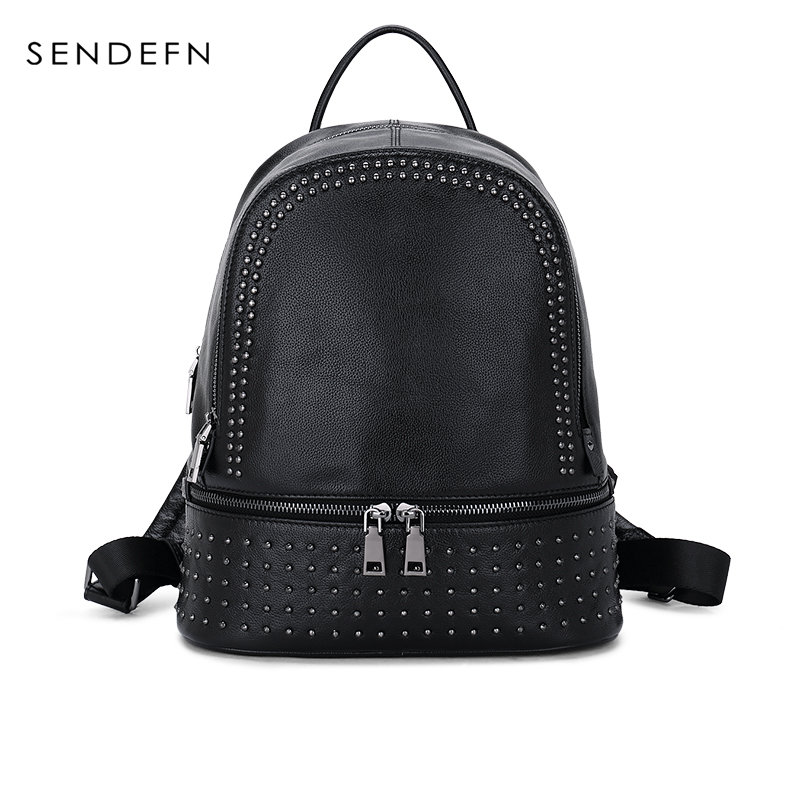 Sendefn Women Genuine leather Backpack Large Capacity Rivet Black Shoulder Bag Teenage Girls school bag ladies soft preppy style new designer women backpack for teens girls preppy style school bag genuine leather backpack ladies high quality black rucksack