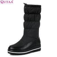 QUTAA 2018 Women Mid Calf Boots Wedge Med Heel Round Toe Winter Shoes Women Black Elastic