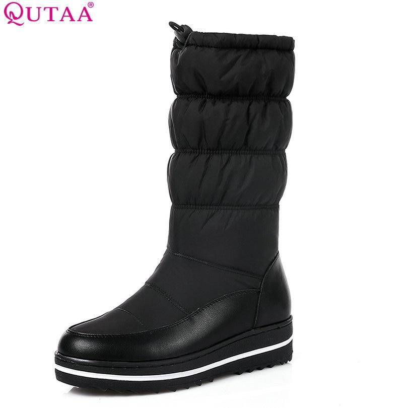 QUTAA 2018 Women Mid Calf Boots Wedge Med Heel Round Toe ...