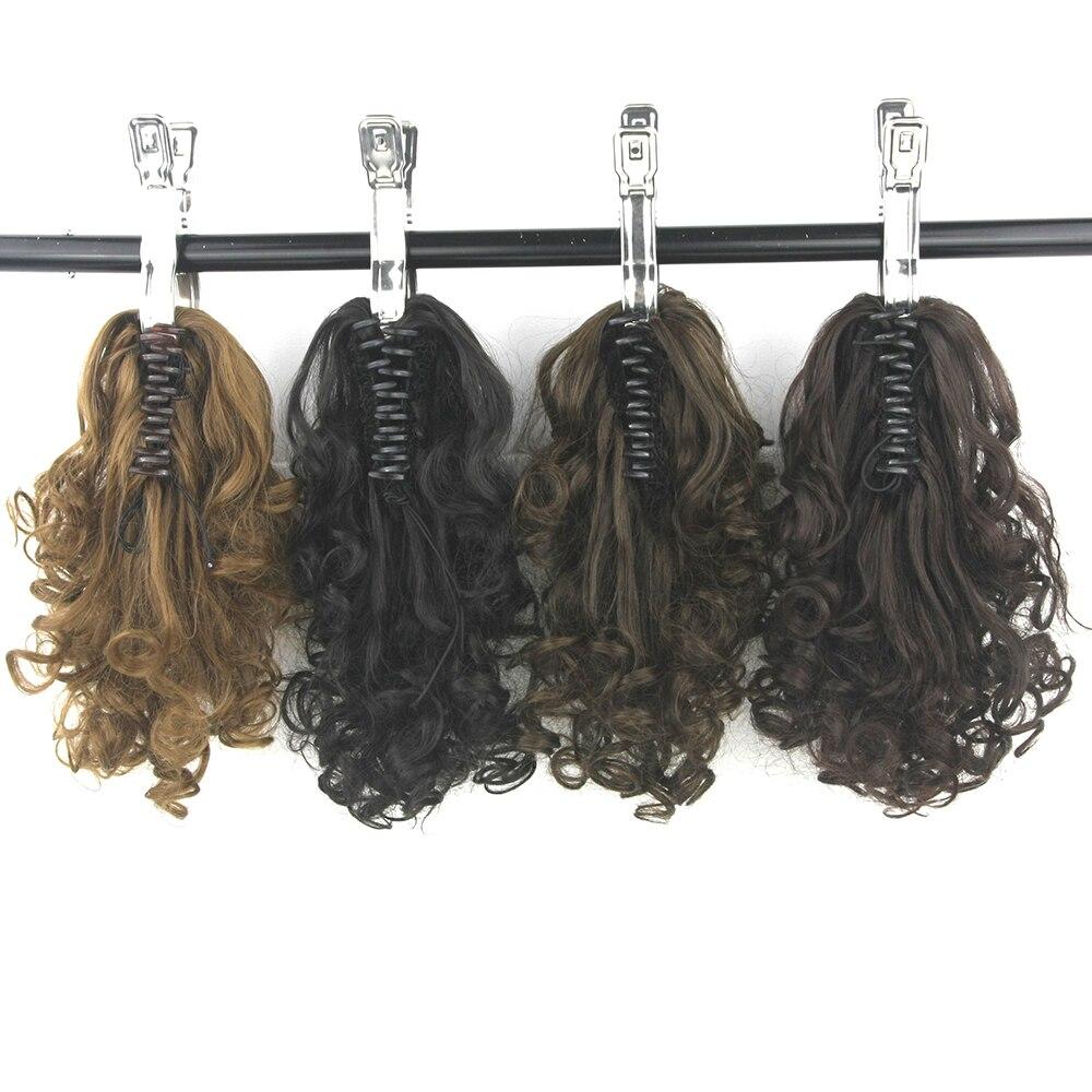 Soowee Haute Température Fiber Postiche Bouclés Griffe Queues de Cheval Synthétique Cheveux Petite Queue de cheval Clip En Extensions de Cheveux