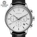 Mens relógios top marca de luxo homens militar esporte relógio de pulso cronógrafo ochstin couro quartz watch relogio masculino