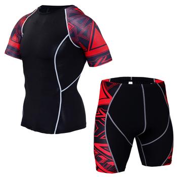 MMA Compression Sport garnitur mężczyźni odzież sportowa dres z krótkim rękawem Running T Shirt szorty do biegania garnitury zestawy do joggingu strój do fitnessu tanie i dobre opinie CANGHPGIN CN (pochodzenie) Z okrągłym kołnierzykiem Pulower Dobrze pasuje do rozmiaru wybierz swój normalny rozmiar