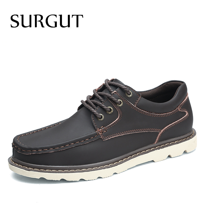 SURGUT New Arrival Genuine Leather Men Casual Shoes Fashion Top Quality Driving Moccasins Lace-Up Men Working Shoes Size 38~47 стоимость