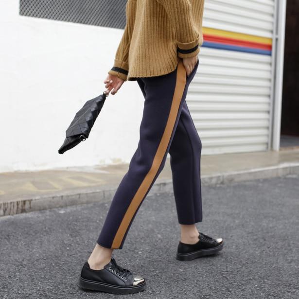 Pantalon 2018 vente acrylique Polyester acétate femmes Long hiver pantalon Style ceinture latérale couture Harem pantalon éponge