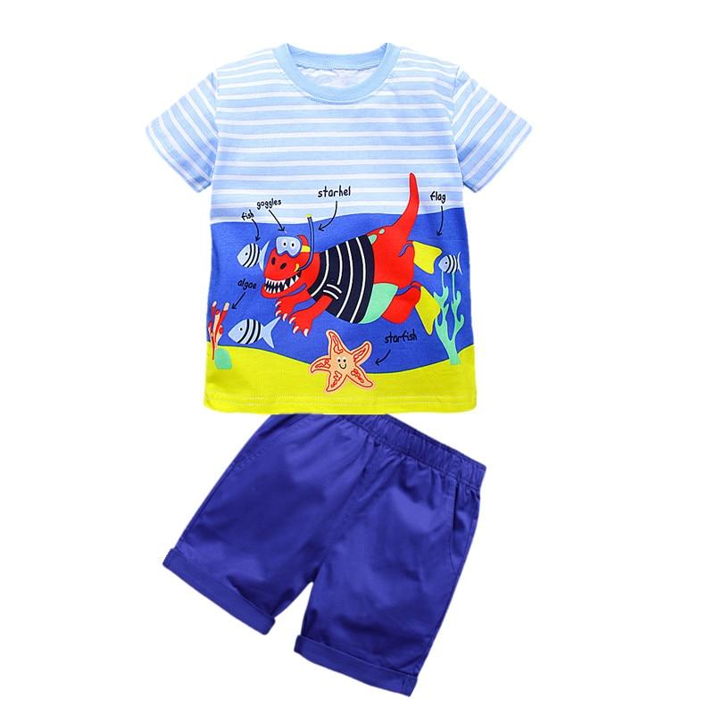VIDMID summer baby Kids children's set boys clothing new children's boys clothes set short-sleeved T-shirt+shorts clothing set