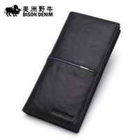 Bison Long Wallet Male Leather Handbag Male Hand Baotou Cowhide Multi Card Wallet Card Package