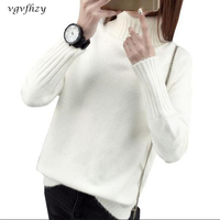 Autumn Winter Women Sweater 2017 New Long Sleeve Loose Turtleneck Knitted Pullover Sweaters Thick Warm Winter