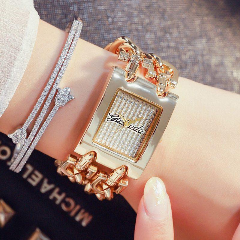 Luxury Women Watches Fashion Elegant Bracelet Double Chains Gifts Gold Ladies Wristwatch 2019 New Quartz Watch Relogio Feminino