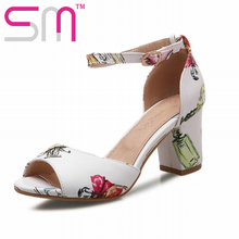 Sexy Peep toe Prints Women's Sandals Summer Ankle Strap Dress Shoes Woman Big Size 33-43 Casual Thick High Heels Sandals