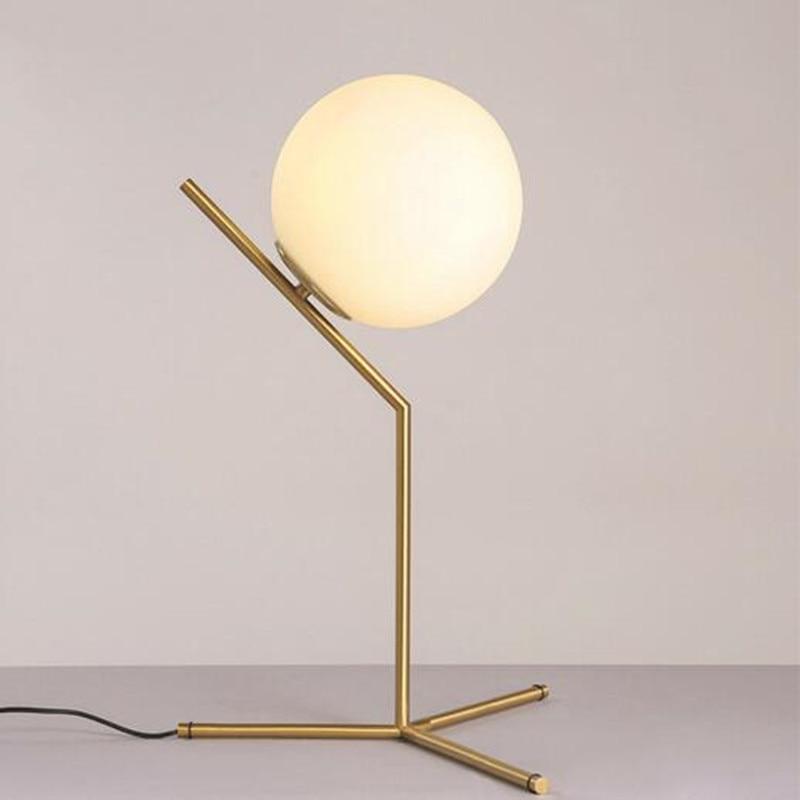 Modern Style Gold Metal Table Light Milky Glass Ball Cafe Decoration Light  Studio Light Bedroom Light