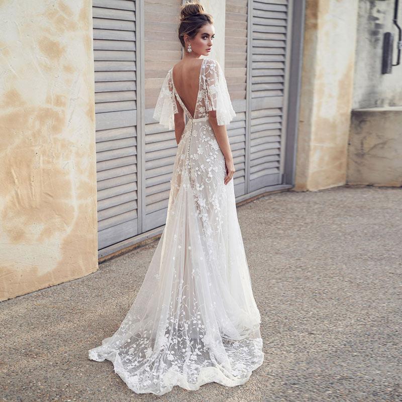 Moda elegante vestido de noite Formal Longa Noite Vestido de Renda com decote em v branco Vestidos Mulheres Partido Vestido abiye gece elbisesi
