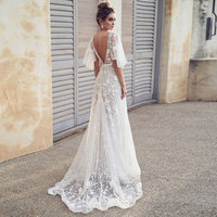 fashion elegant evening gown Formal Long Evening Dress Lace v neck white Vestidos Women Party Gown abiye gece elbisesi
