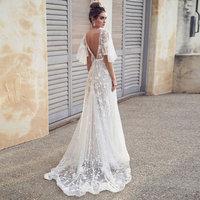 fashion elegant evening gown Formal Long Evening Dress Lace v neck white Vestidos Women Party Gown abiye gece elbisesi