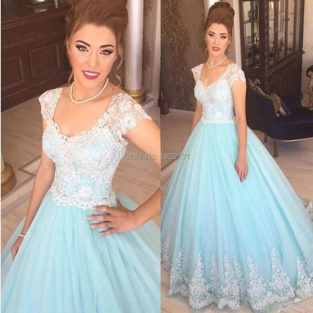 2017 Fashion Light Blue Lace Quinceanera Dress Ball Gown Cap Sleeve