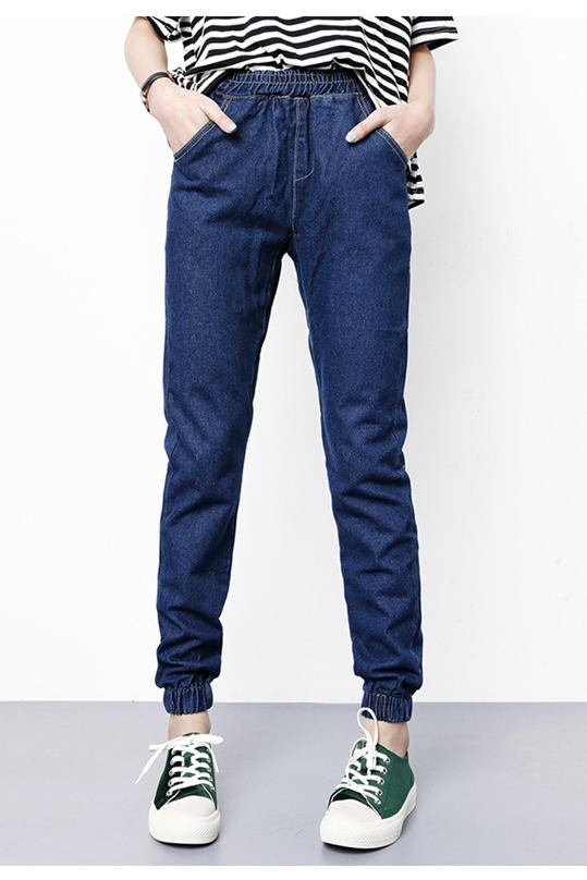 2017 new arrival all-match elastic denim pants loose harem pants ankle length jeans trousers female trousers