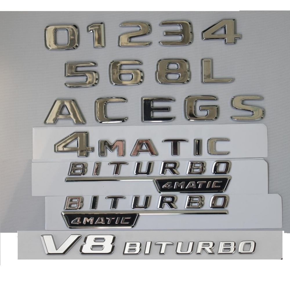 Chrome Trunk Letters Badges Emblems 1pair BITURBO 4MATIC