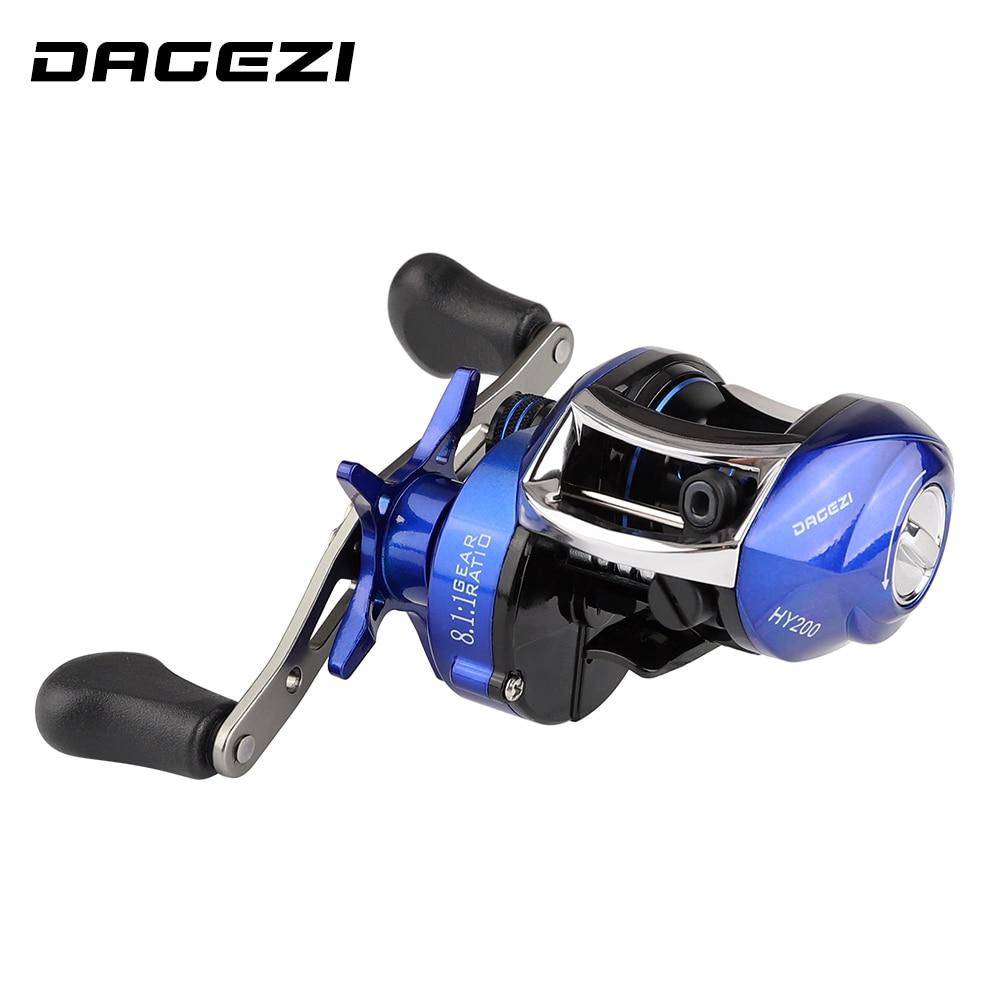 DAGEZI 8,1: 1 verhältnis Dual Bremse System Baitcastingrolle 8 kg Drag Power 12 + 1 BB Lure Fishing Reel für Salzwasser angeln Rad