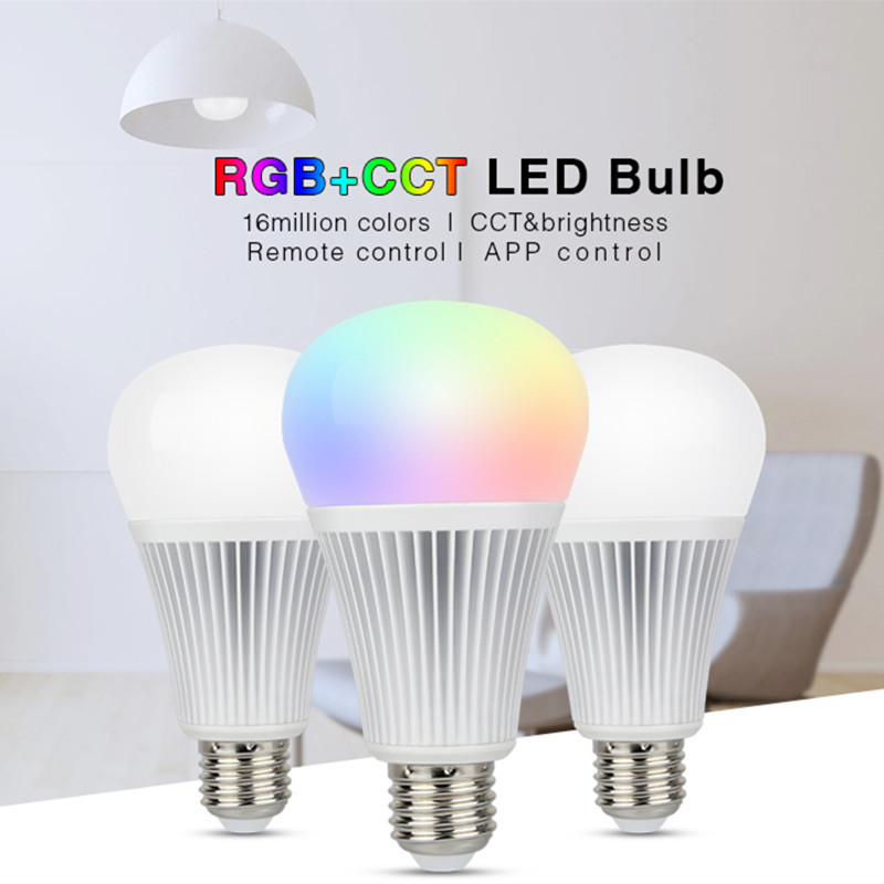Mi Light <font><b>FUT012</b></font> E27 9W RGB+CCT led bulb lamp smart mobile phone APP WIFI led light AC85V-265V white warm Dimmable Lampada Light image