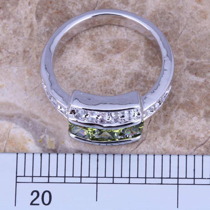 ที่น่าสนใจสีขาวCZสีเขียวPeridotเงินประทับ925สตรีแหวนขนาด6/7/8/9 R0751
