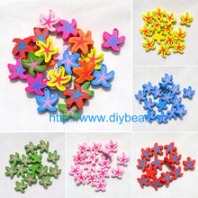 20pcs/lot DIY fashion jewelry accessories cartoon wooden beads Children Handcraft Department colorful starfish mix color