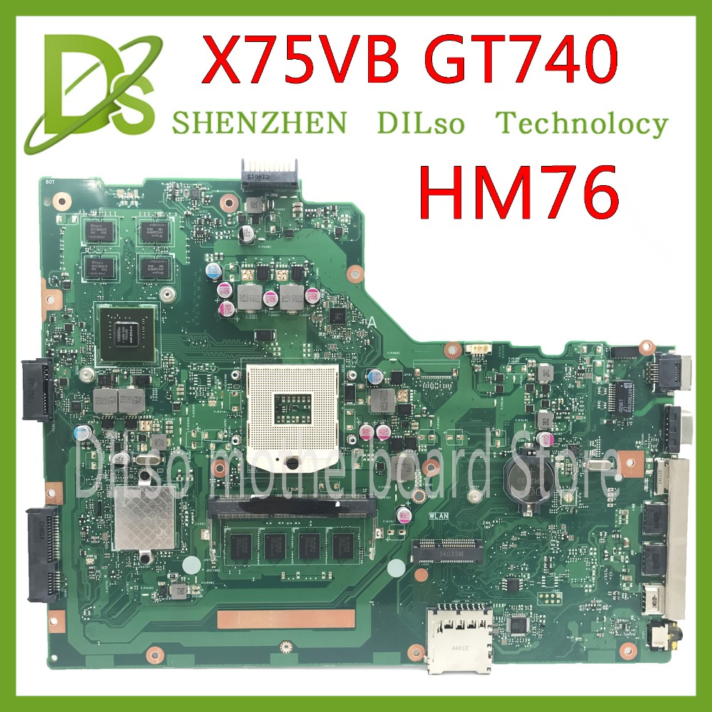 цена на KEFU X75VB For ASUS X75VB X75VC X75V X75VD Laptop motherboard REV2.0 mainboard GT740M with Graphics card Test motherboard