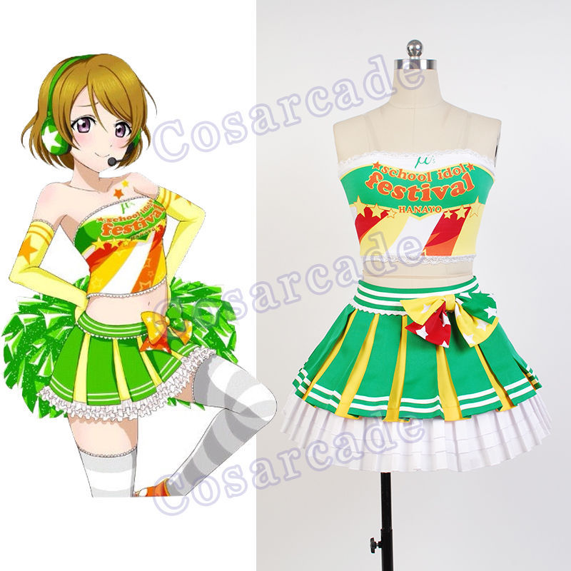 Love Live Hanayo Koizumi Cheerleader Uniform Cosplay Costume Party Dress Outfit