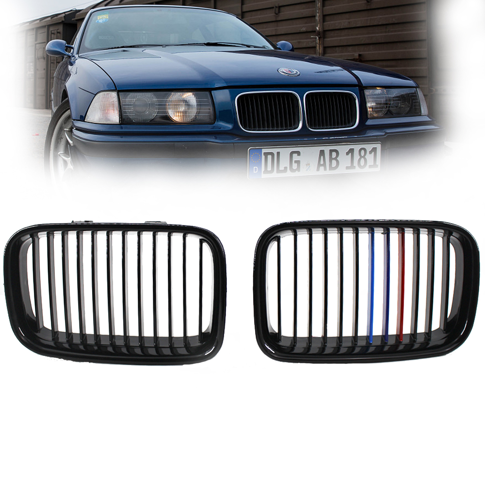 Pair Front Gloss Black M-color Kidney Sport Hood Grill Grille For 1992 1993 1994 1995 1996 BMW E36 3 Serise 1 pair gloss black m color front bumper center kidney grilles for bmw x3 f25 2011 2012 2013 2014 racing grills
