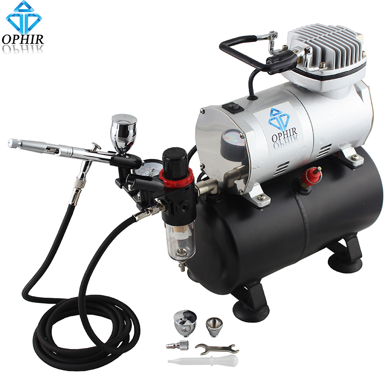 OPHIR PRO 0.5mm Dual Action Airbrush Kit with Air Tank Compressor for Model Hobby Makeup Nail Art Cake Air Brush Set_AC090+AC006 ophir temporary tattoo tool dual action airbrush kit with air tank compressor for model hobby cake paint nail art ac090 ac004