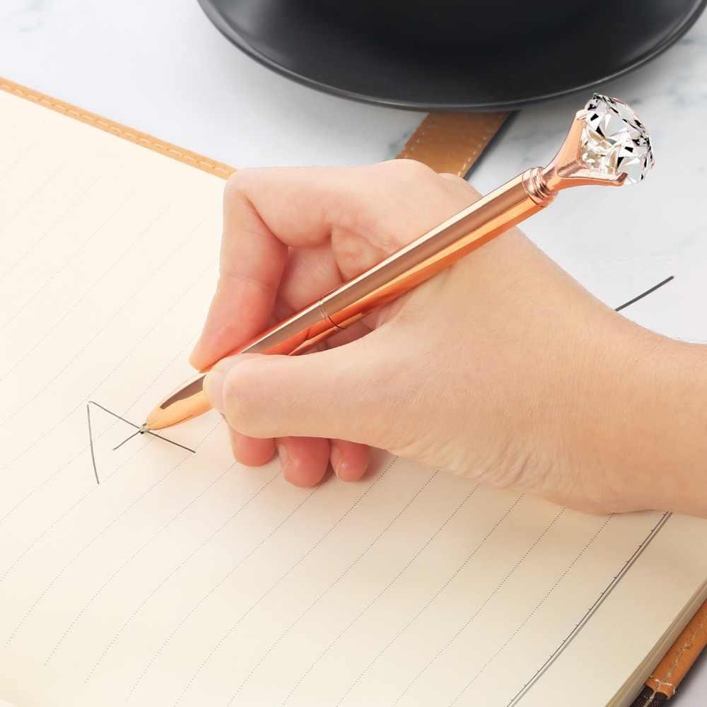 ปากกาลูกลื่นปากกาโลหะเพชรCristalดินสอ1มม.หมึกสีดำสีหมุนSlim Ball Pointปากกากรณีกล่องกระเป๋าเครื่องเขียน