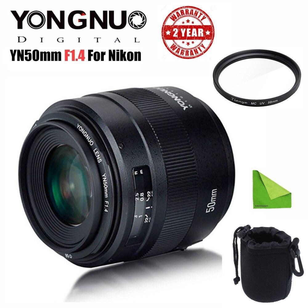 YONGNUO YN 50 MM F1.4N E objectif principal Standard AF/MF pour Nikon D7500 D7200 D7100 D5600 D5500 D5300 D5200 D5100 D3400 D3300 etc.