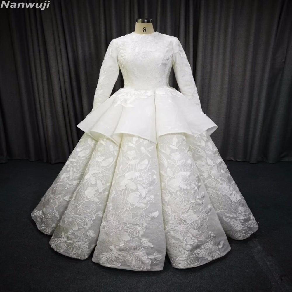 حقيقي فستان الزفاف الإسلامي كم طويل - فساتين زفاف