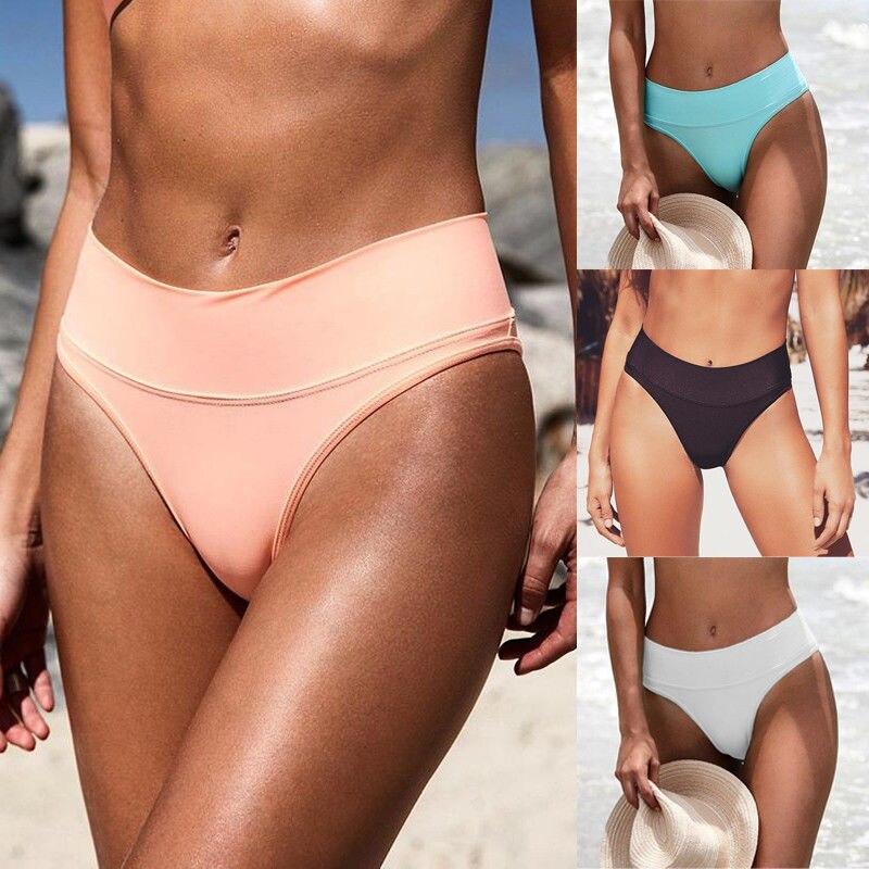 One Piece Women Sexy High Waist Bikini Bottom Solid Candy Colors Swimwear Briefs Beachwear Bathing Clothing