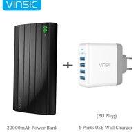 Vinsic IRON P6 20000mAh Portable External Battery Charger 2 4A Dual USB Port Power Bank Dual