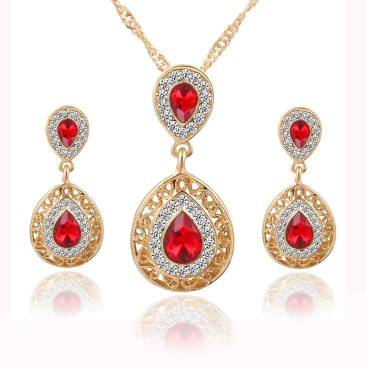 Jewelry Thiết Double Water Drop Tinh Hoa Tai Vàng Màu Rhinestone Pendant Necklaces Cho Phụ Nữ Bridal Engagement Wedding Set