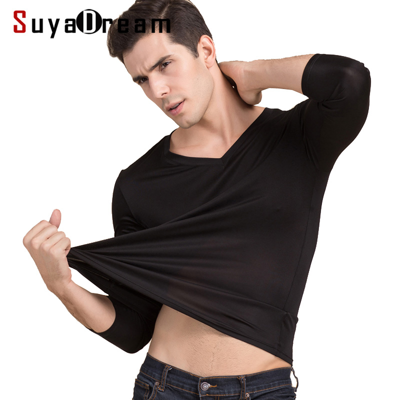 Men basic T shirt 100%Natural Silk V neck Solid shirt long Sleeve top Mens silk top White Black Grey 2018 New Spring Summer nautica new blue long sleeve v neck pajama top m $32 dbfl
