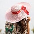 Moda Sombrero de Paja Playa Sombrero Gorra de Sol Del Verano de Las Mujeres de Ala Ancha Floppy Derby Nueva Señora Veces