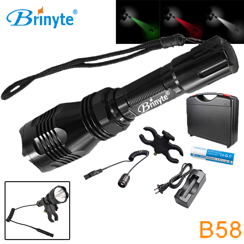Brinyte B58 High Power Led Military Flashlight Portable Waterproof Torch with Rechargeable 18650 Battery Gun Mount Remote Switch