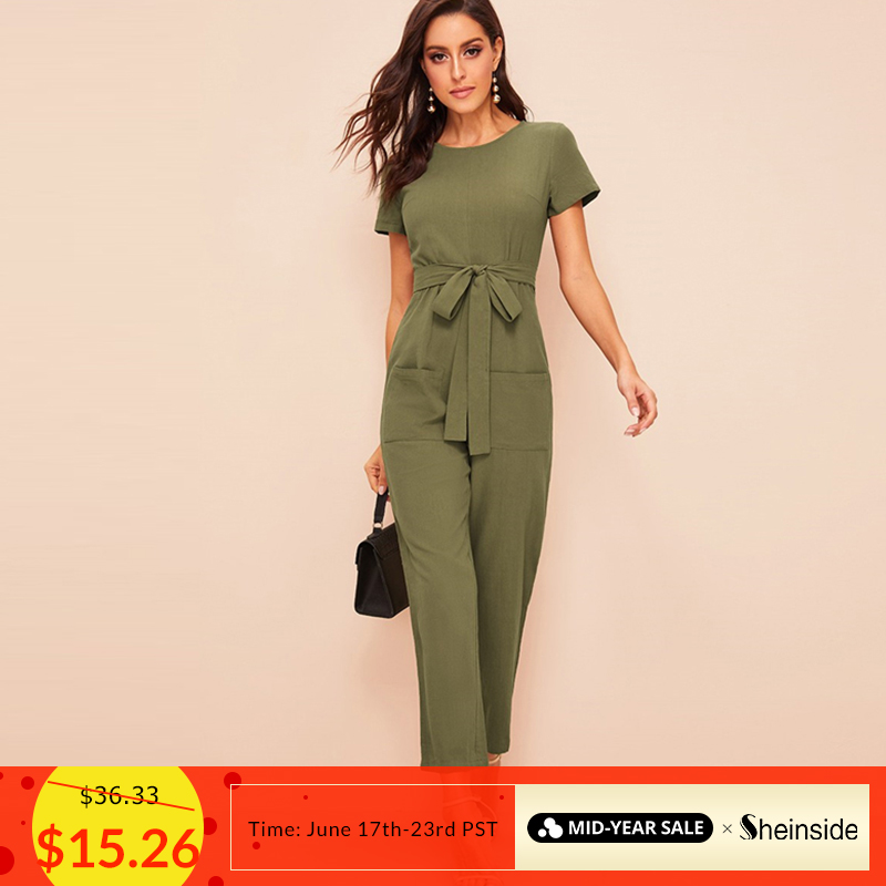 Sheinside Pocket Front Zip Back Self Belted   Jumpsuit   Women 2019 Summer Army Green Short Sleeve   Jumpsuits   Straight Leg   Jumpsuit
