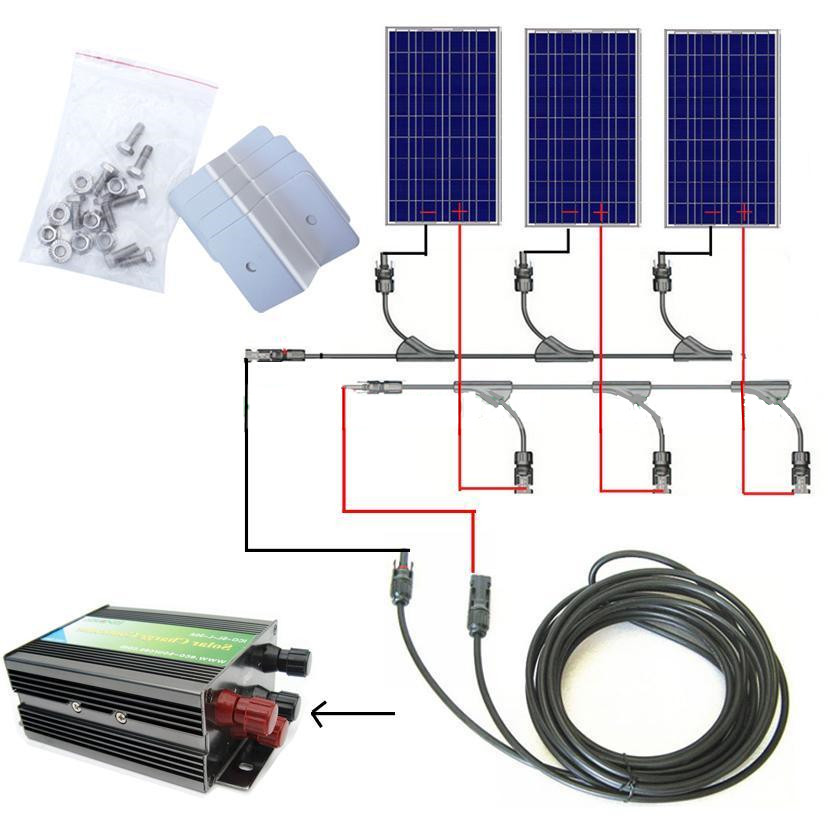 300w solar system complete kit 3 *100W photovoltaic PV solar panel system , solar module for RV boat, car , home solar system