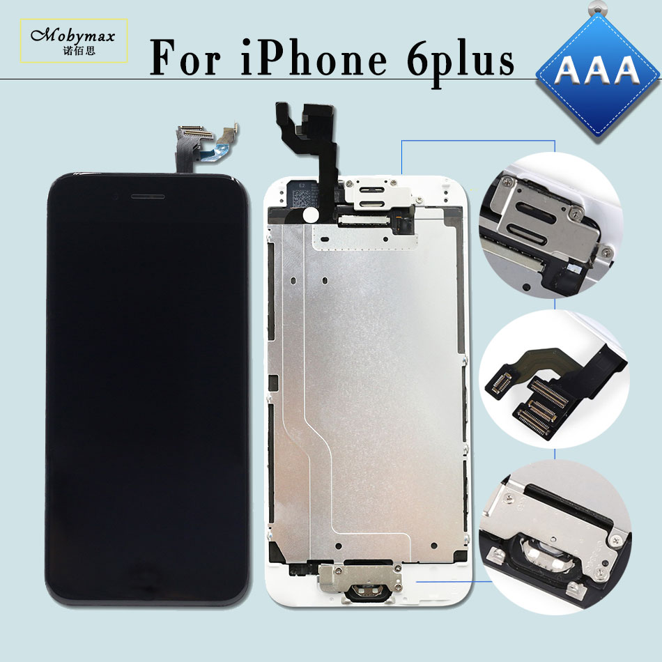 Mobymax 10PCS Ecran AAA Pantalla for iPhone 6 Plus 5.5 Display Touch Screen Digitizer&LCD Full Assembly+Home Button+Front Camera