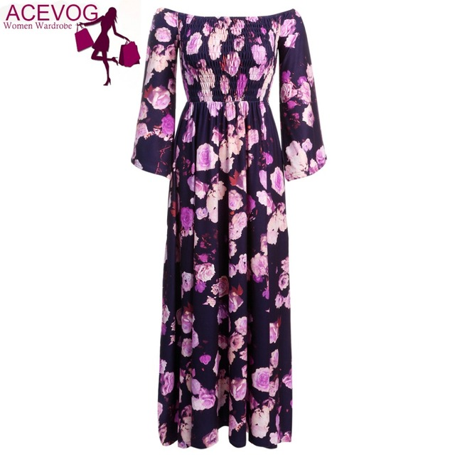 9cf0dd7b7207 ACEVO Loose Maxi Dress Women s Long Sleeve Off Shoulder Flare Sleeve Side  Slit Evening Party Long Draped Floral Dress Purple
