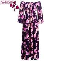 ACEVO Lose Maxi Kleid frauen Langarm Schulterfrei Aufflackernhülse Seite Schlitzte Abendgesellschaft Lange Drapierte Blumenkleid lila