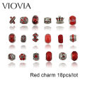 VIOVIA 18pcs Red Bead Charm European Antique Silver Plated Fashion Bead Fit Pandora Bracelet Necklace
