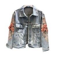 Autumn Femeal Jean Coat Vintage Harajuku Coat Female loose Streetwear Embroidery three dimensional Denim Jacket For Women