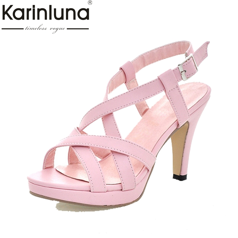 KARINLUNA Big Size32-43 Fashion Women Gladiator Sandals Cross Strap Spiked High Heels Summer Open Toe Platform Shoes Woman rousmery 2017 ankle wrap rhinestone high heel sandals woman abnormal jeweled heels gladiator sandals women big size 43