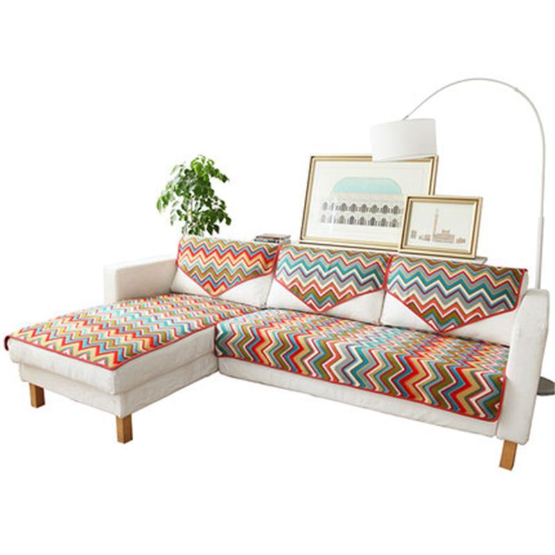 Sofa cushion Cloth cushion Simple modern Cotton weaving Striped sofa cover American fashion sofa cloth