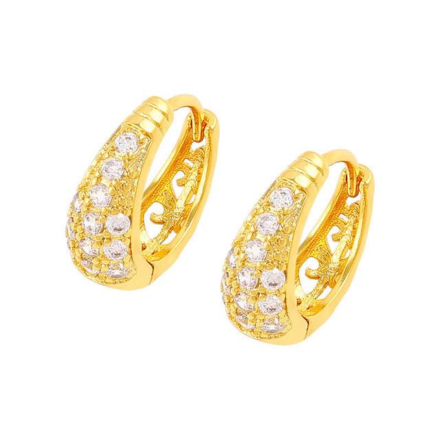 Bling de las mujeres amarillo oro plateó ahueca hacia fuera el pendiente del aro de la joyería de moda femenina envío gratis
